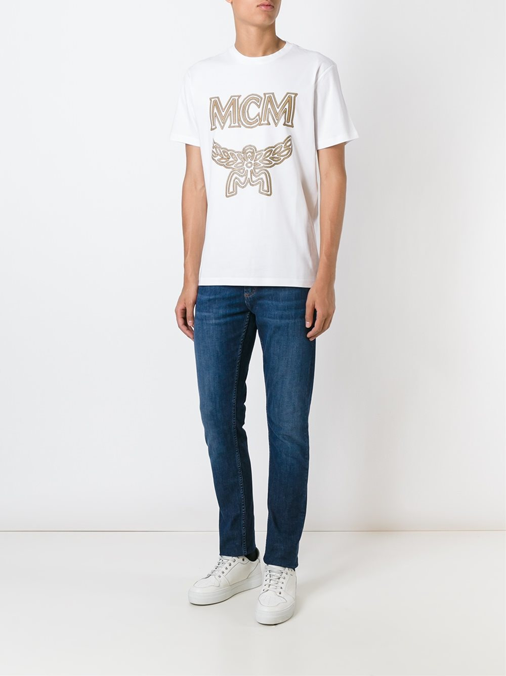 mcm logo print t shirt in black for lyst