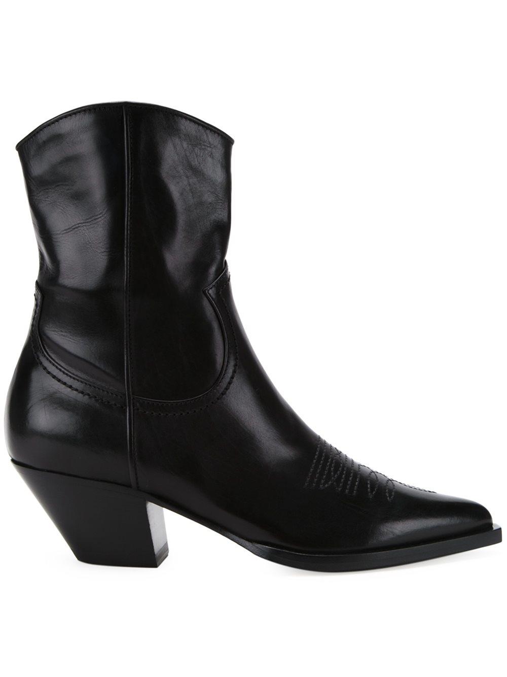 Lyst Scanlan Theodore Cuban Heel Boots In Black
