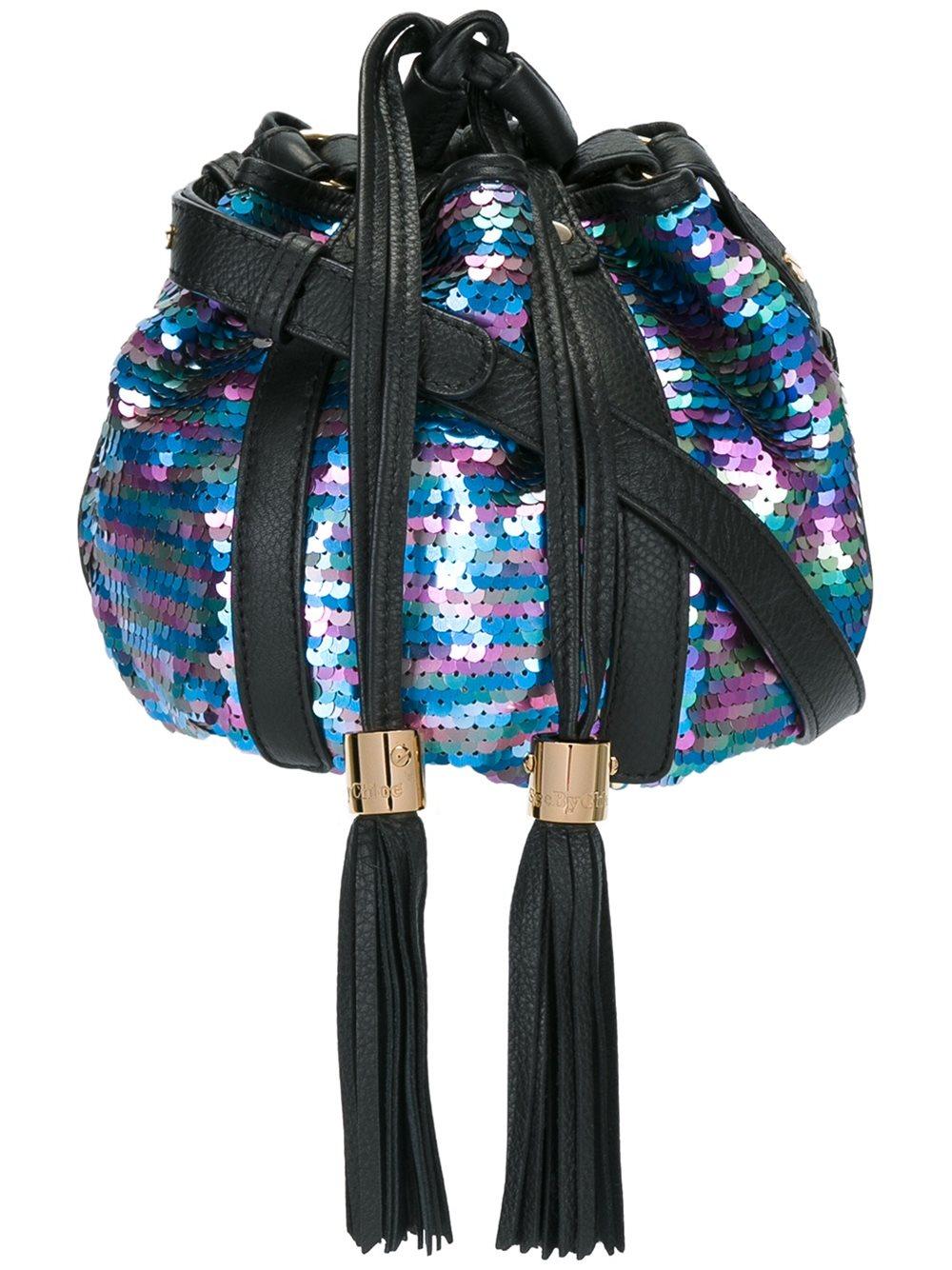 See by chloe denim patchwork skirt