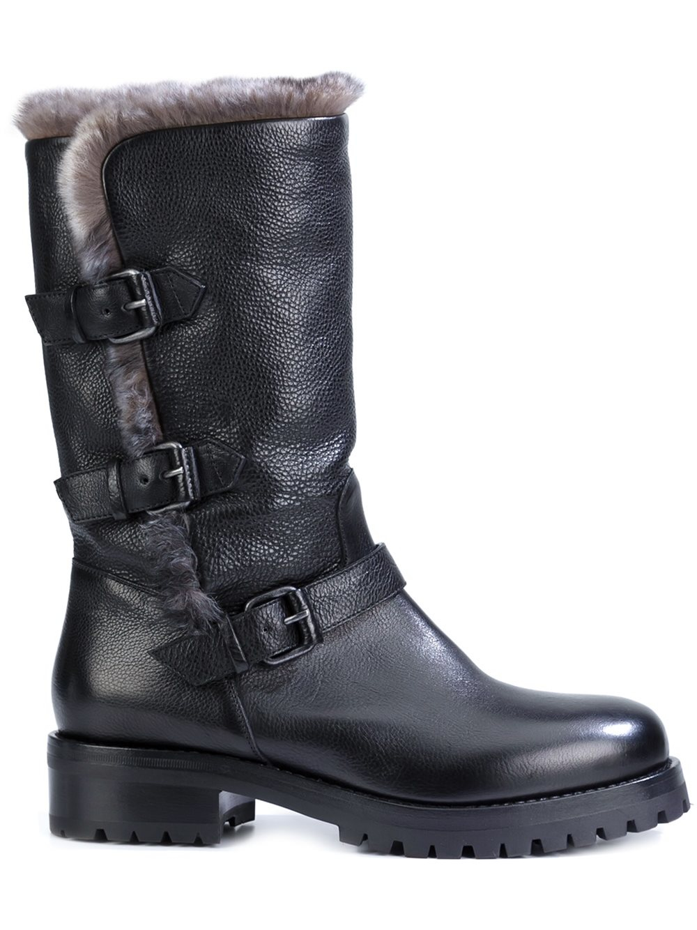 Black Knee High Riding Boots River Island