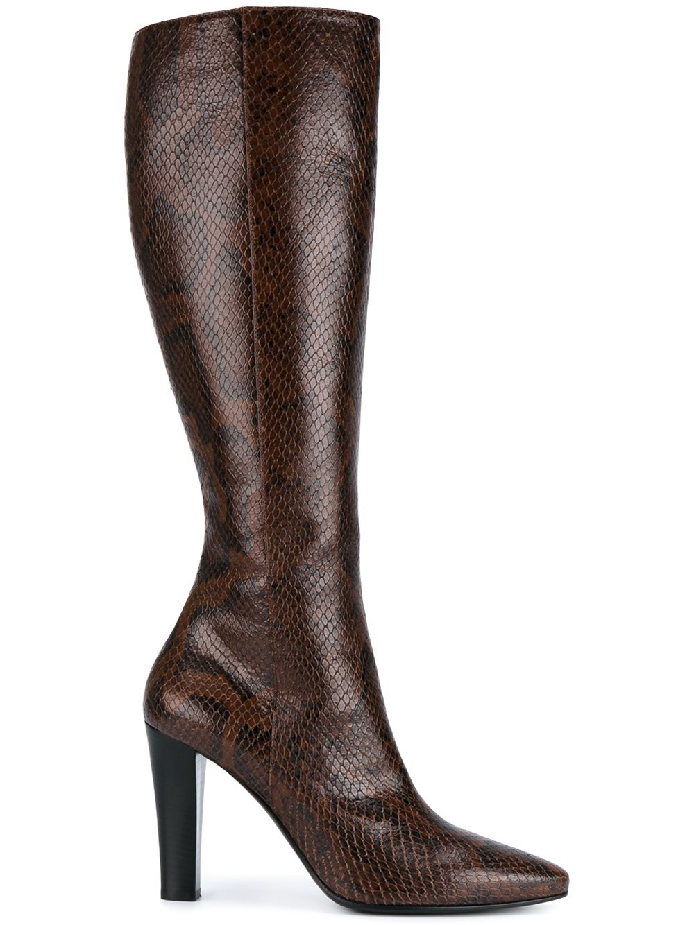 laurent snakeskin effect boots in brown lyst