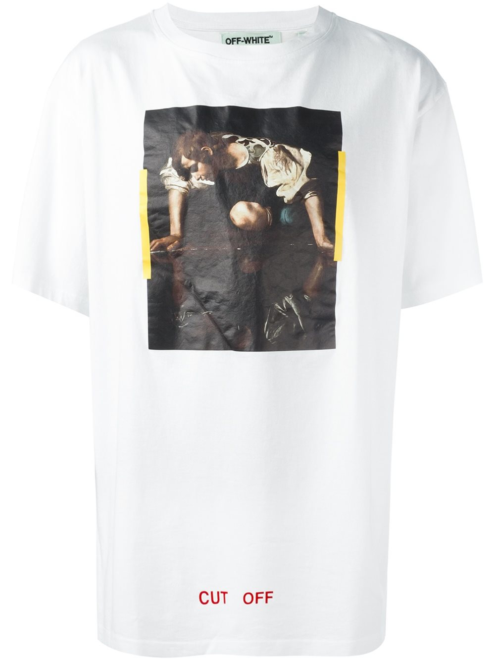 off white c o virgil abloh cut off printed t shirt in white for men lyst. Black Bedroom Furniture Sets. Home Design Ideas