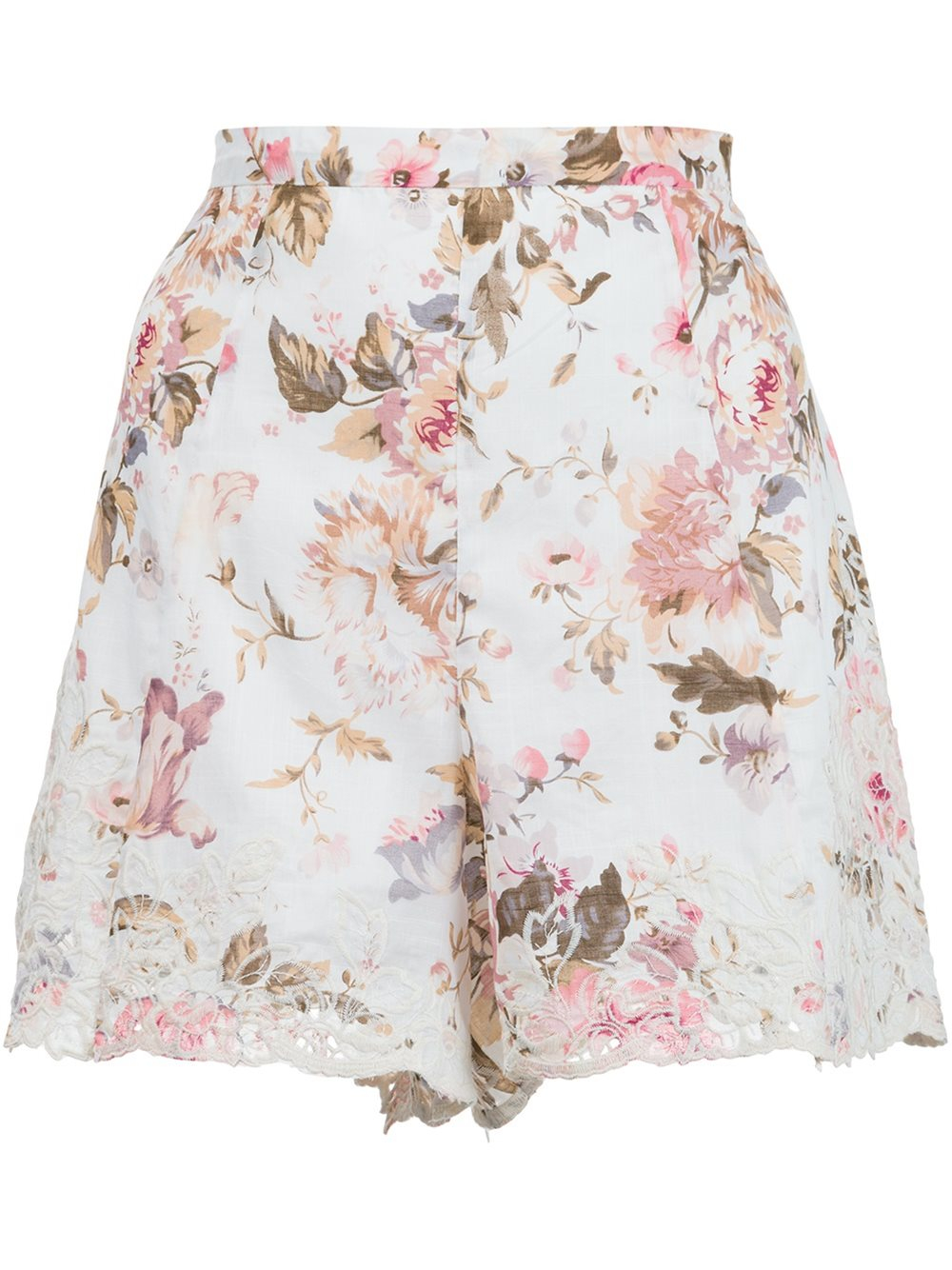 Zimmermann eden floral embroidered shorts in white lyst