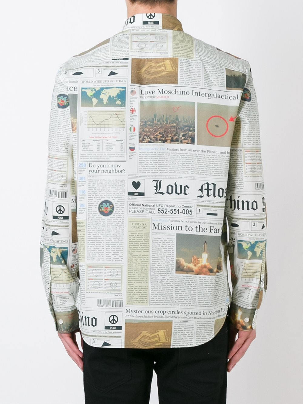 Love Moschino Newspaper Print Shirt In Multicolor For Men