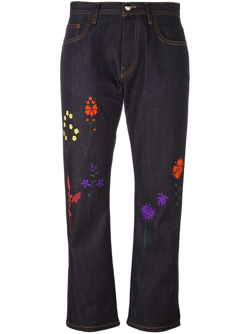 Fendi floral embroidered jeans in blue lyst