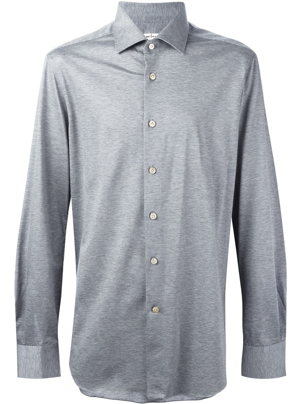 Kiton melange button down shirt in gray for men lyst for Grey button down shirt