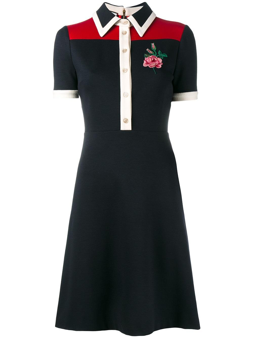 Gucci rose embroidered polo dress in blue lyst