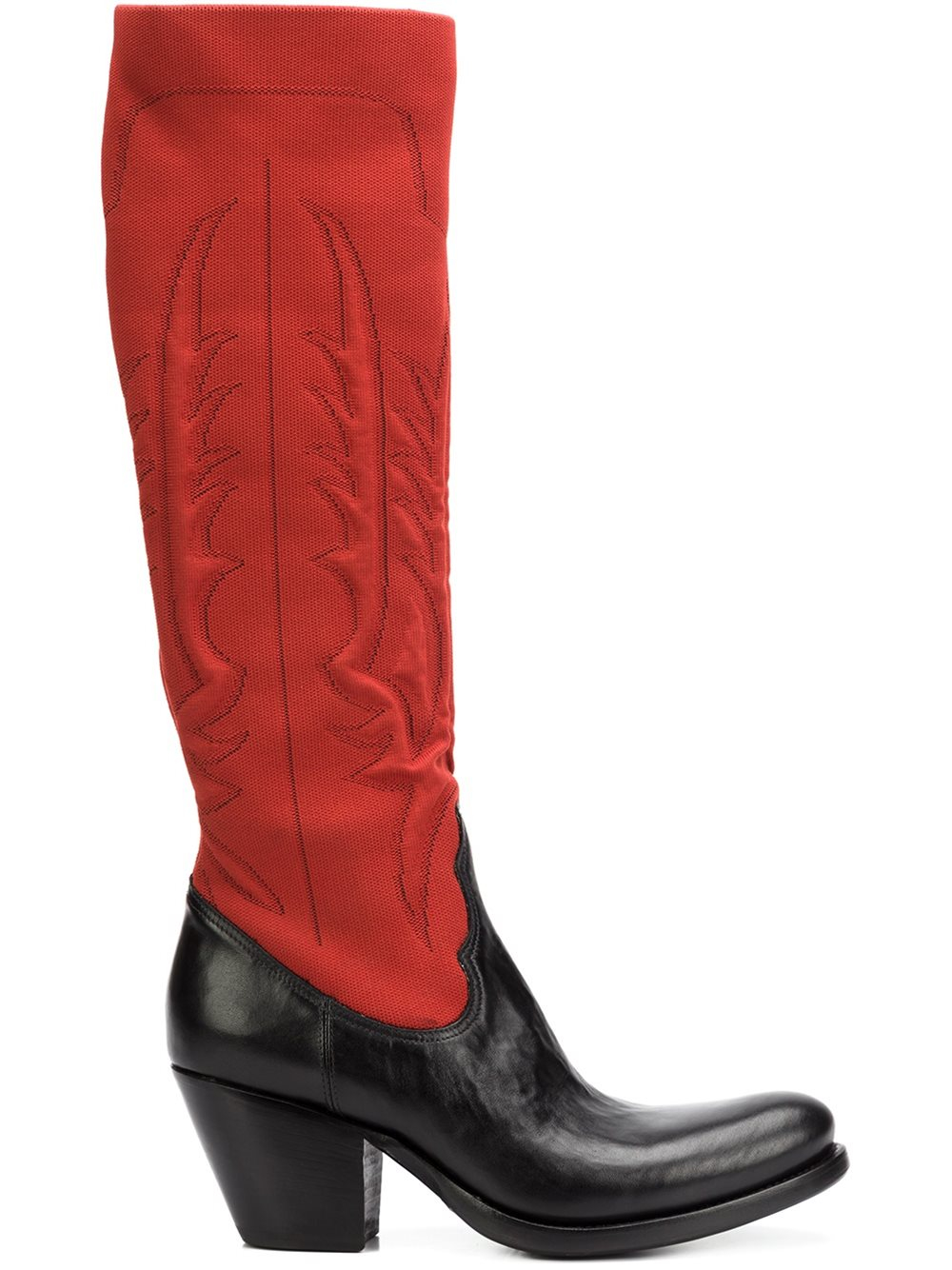 Rocco Bicolour Leather Boots Red Lyst