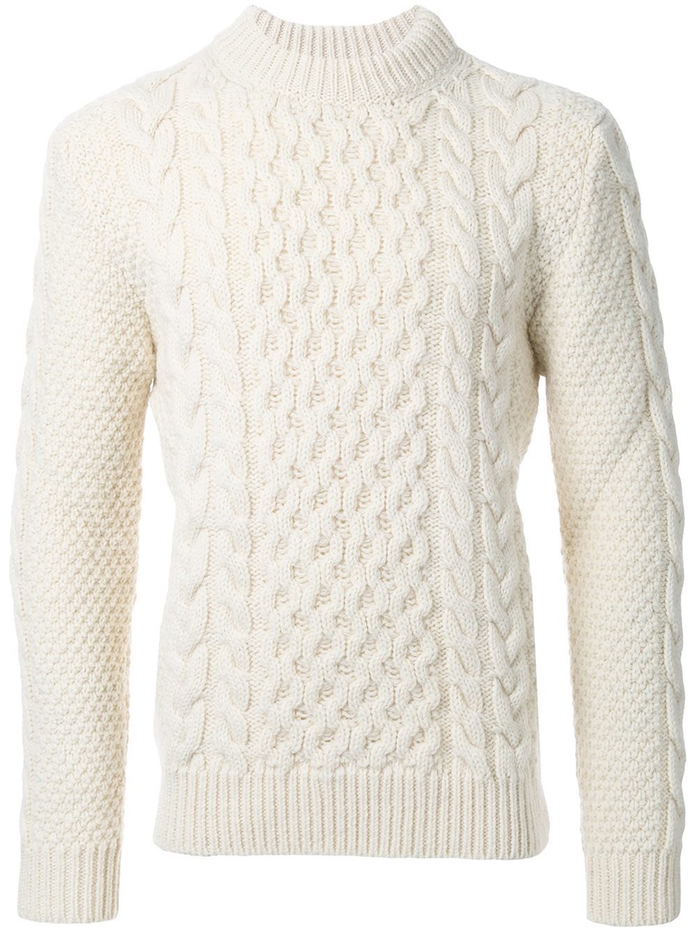 Saint laurent Classic Fisherman Mock Turtleneck Sweater in White ...