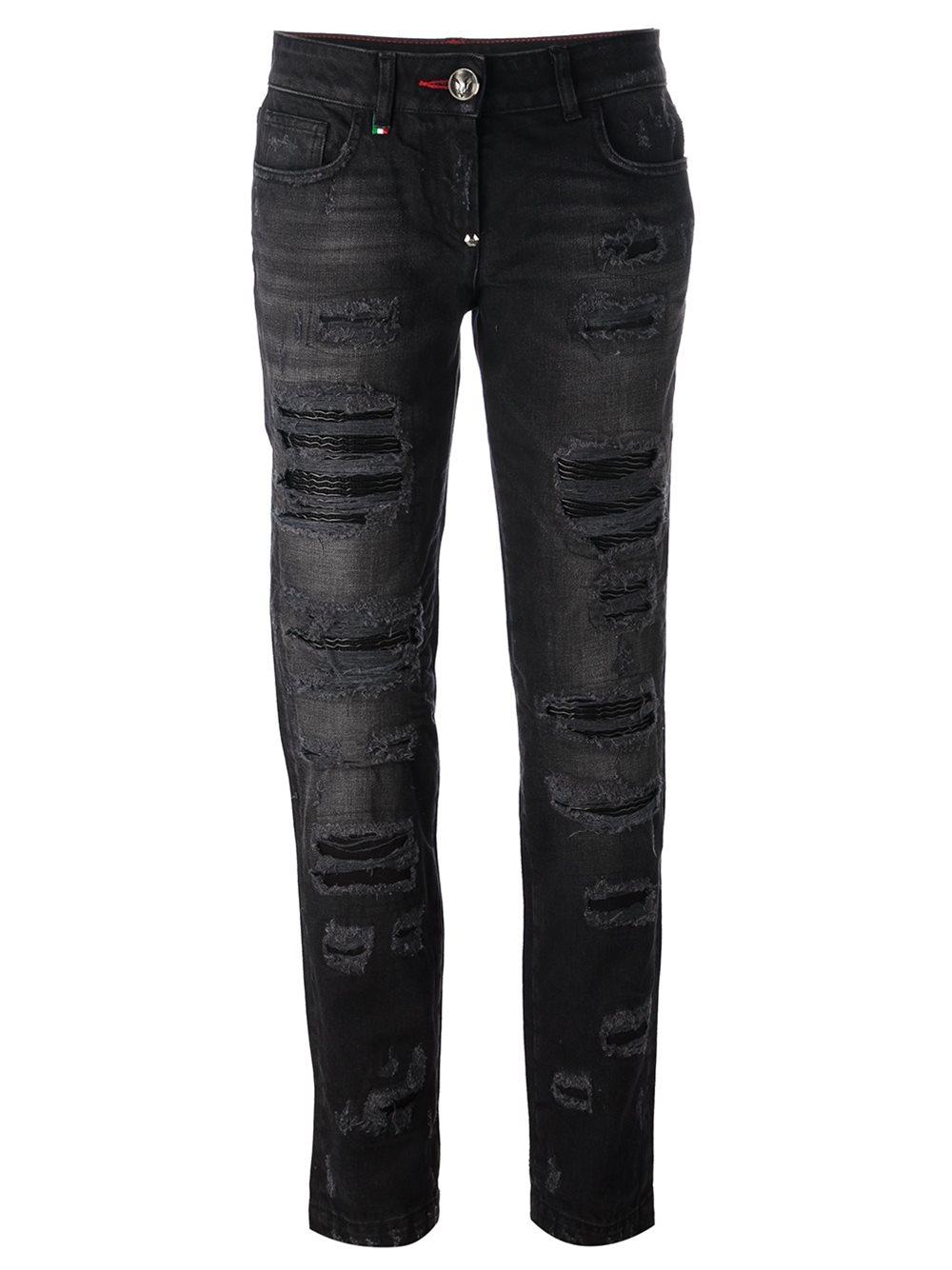 lyst philipp plein distressed boyfriend jeans in black. Black Bedroom Furniture Sets. Home Design Ideas