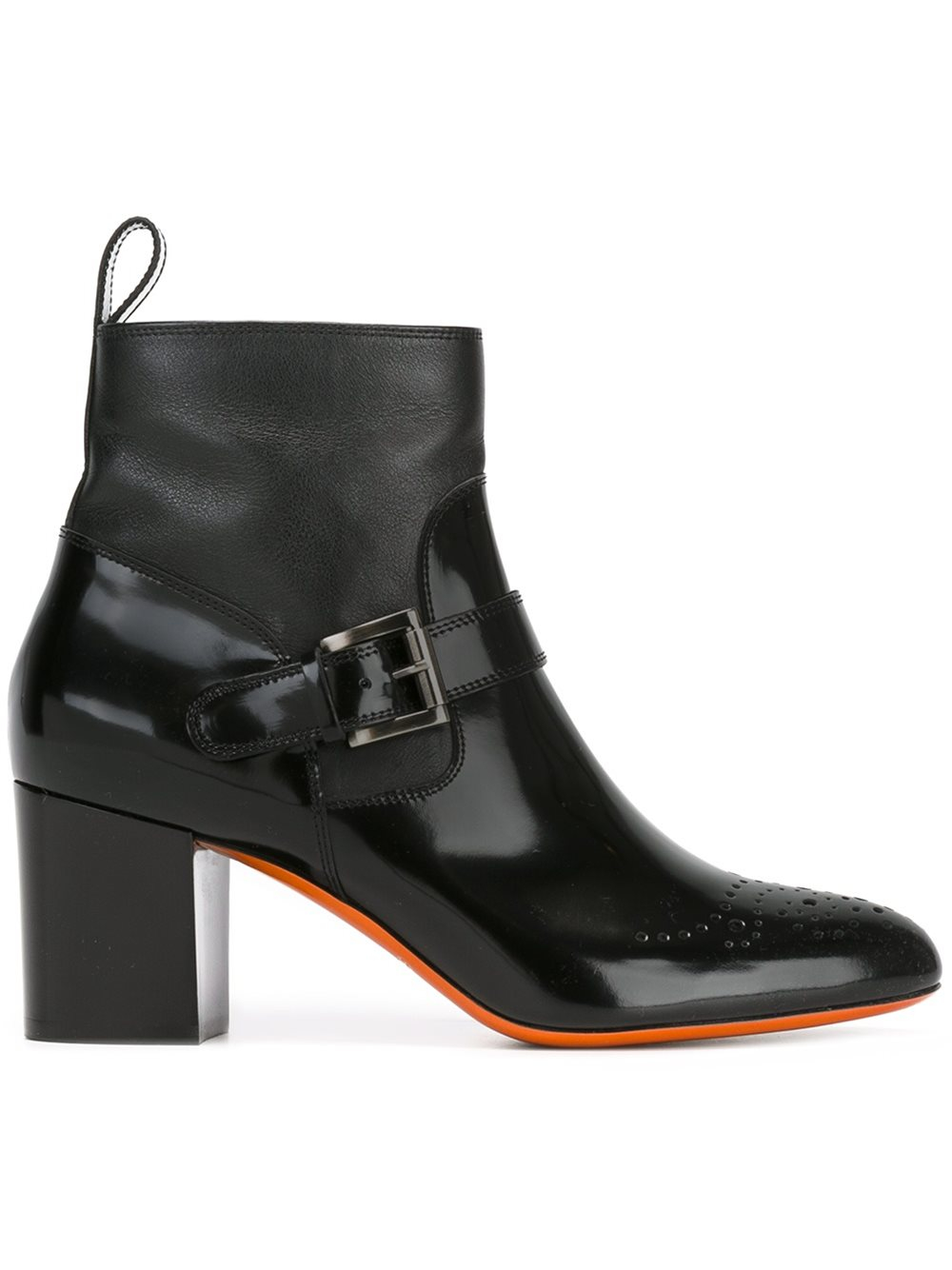 santoni buckled leather ankle boots in black lyst