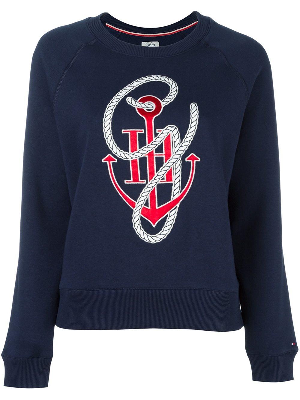 tommy hilfiger anchor print sweatshirt in blue lyst. Black Bedroom Furniture Sets. Home Design Ideas