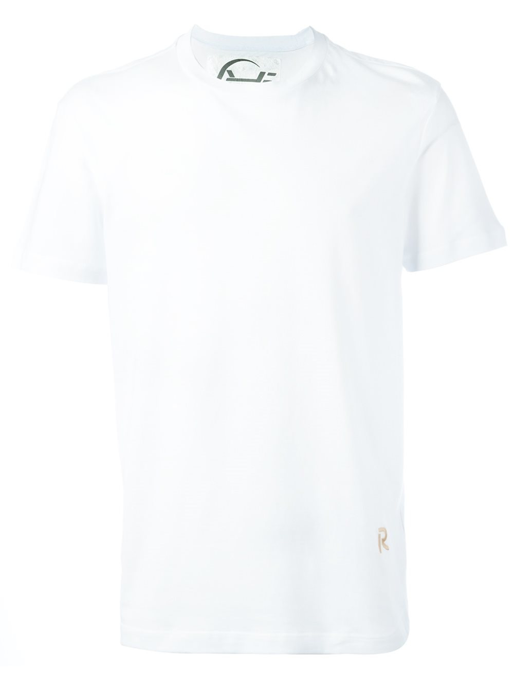Raf simons embroidered logo t shirt in black for men for Embroidered logos on shirts