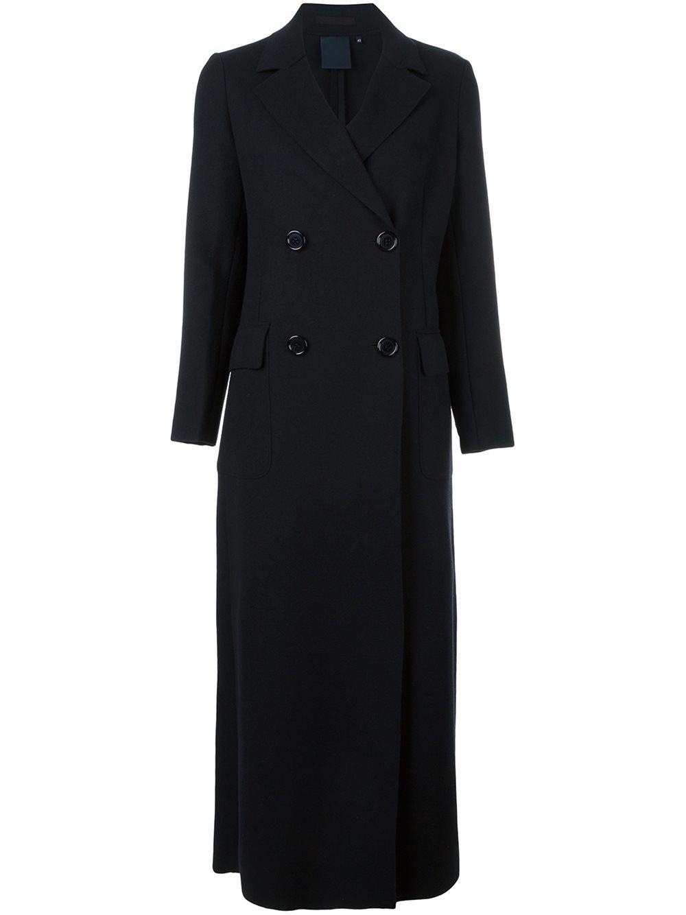 Lyst Aspesi Long Double Breasted Coat In Blue