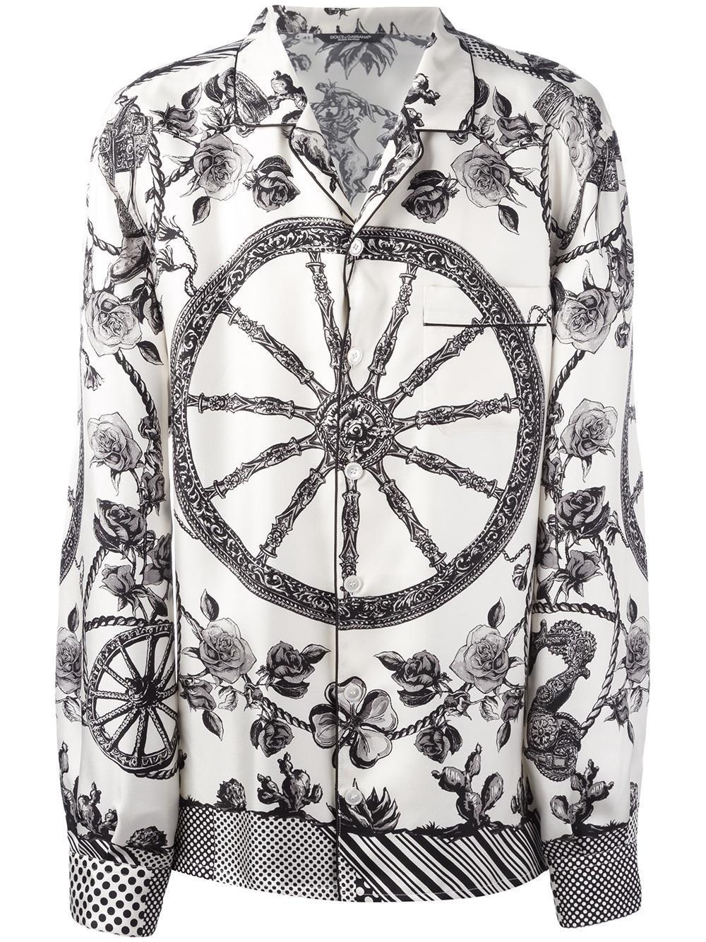 10a734f69ce1 Dolce & Gabbana Wheel Print Pyjama Shirt in Natural for Men - Lyst