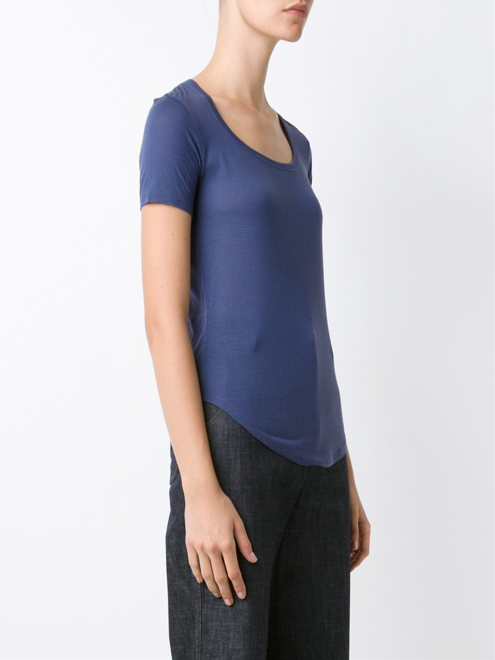 Lyst atm scoop neck t shirt in blue for Atm t shirt sale