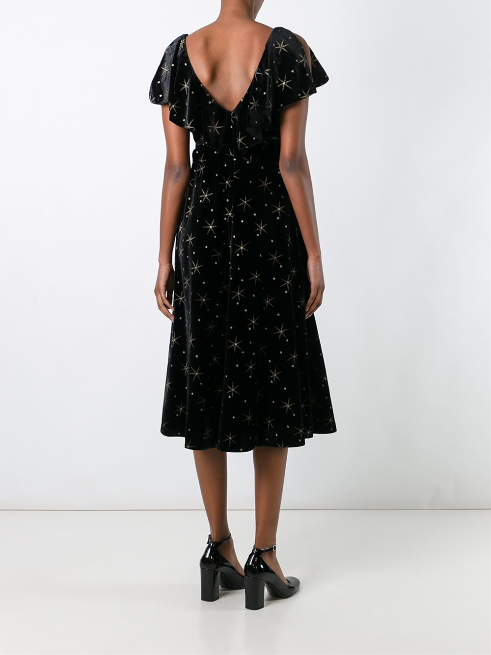 Valentino Star Embroidered Dress In Black Lyst