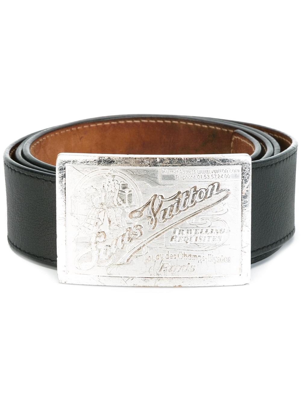 Lyst Louis Vuitton Logo Plaque Belt In Brown For Men