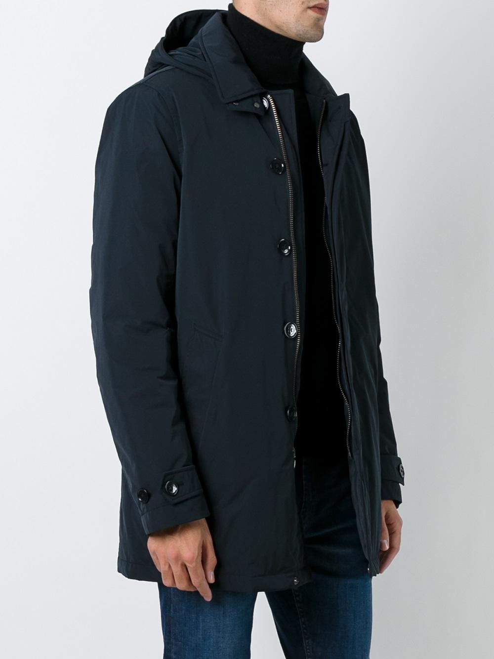 Lyst Woolrich Hooded Mid Length Coat In Blue For Men