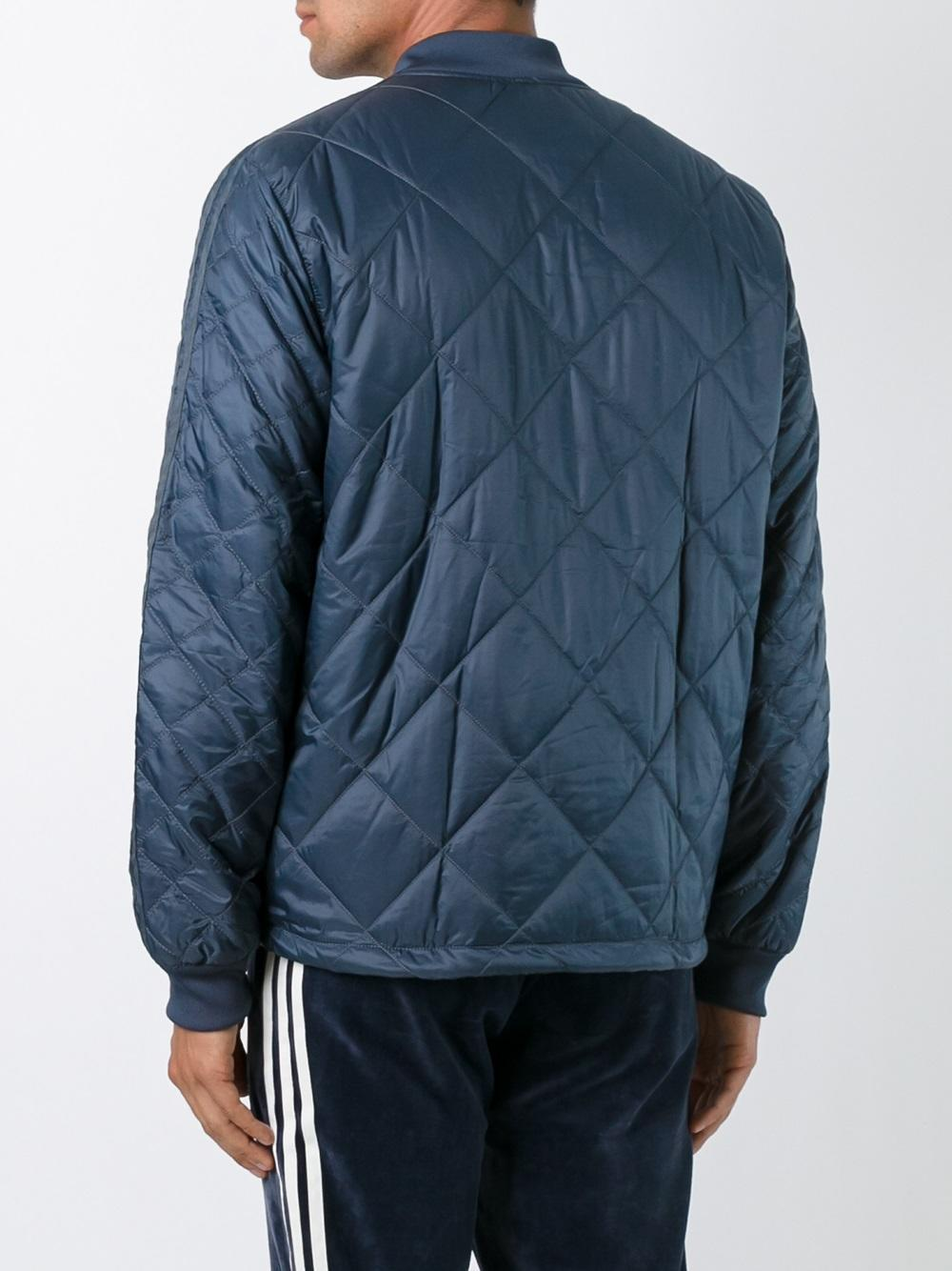 Adidas Originals Quilted Superstar Bomber Jacket In Blue