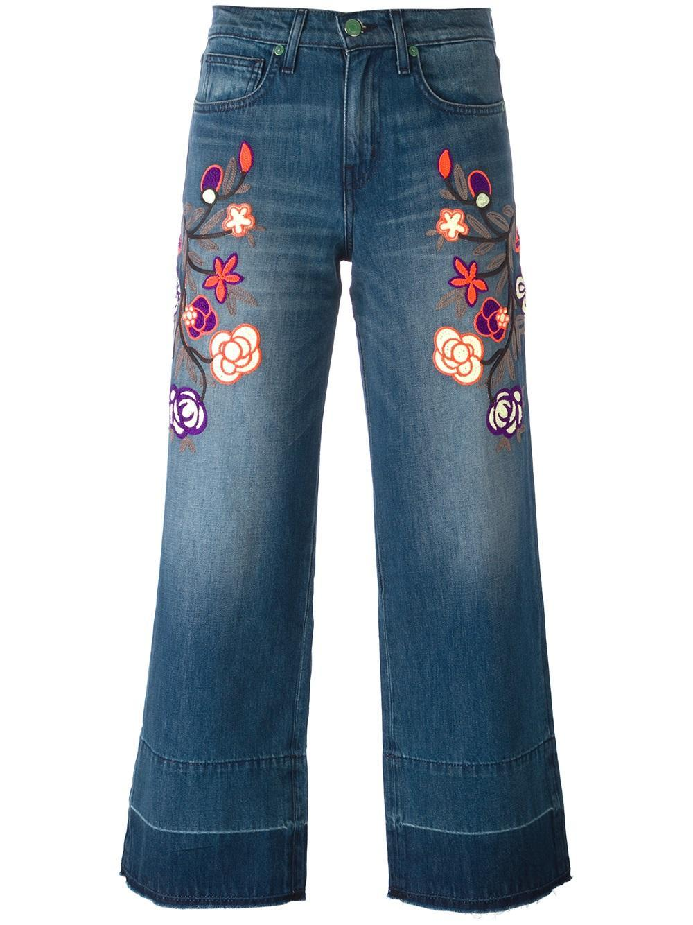 Sandrine rose floral embroidered cropped jeans in blue lyst