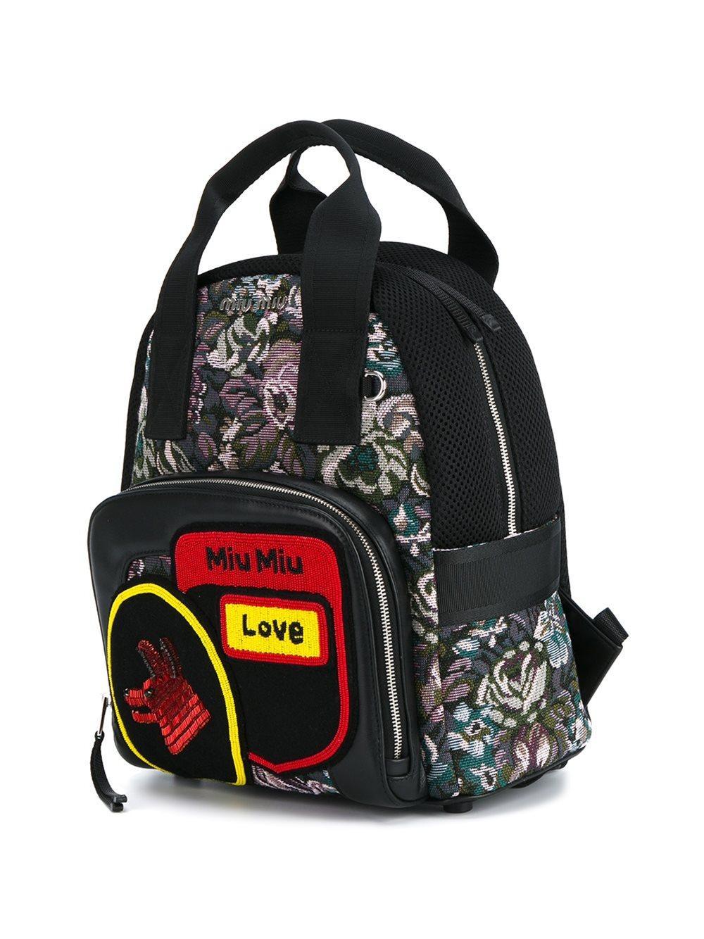Miu Miu Small Floral Jacquard Backpack Women Leather