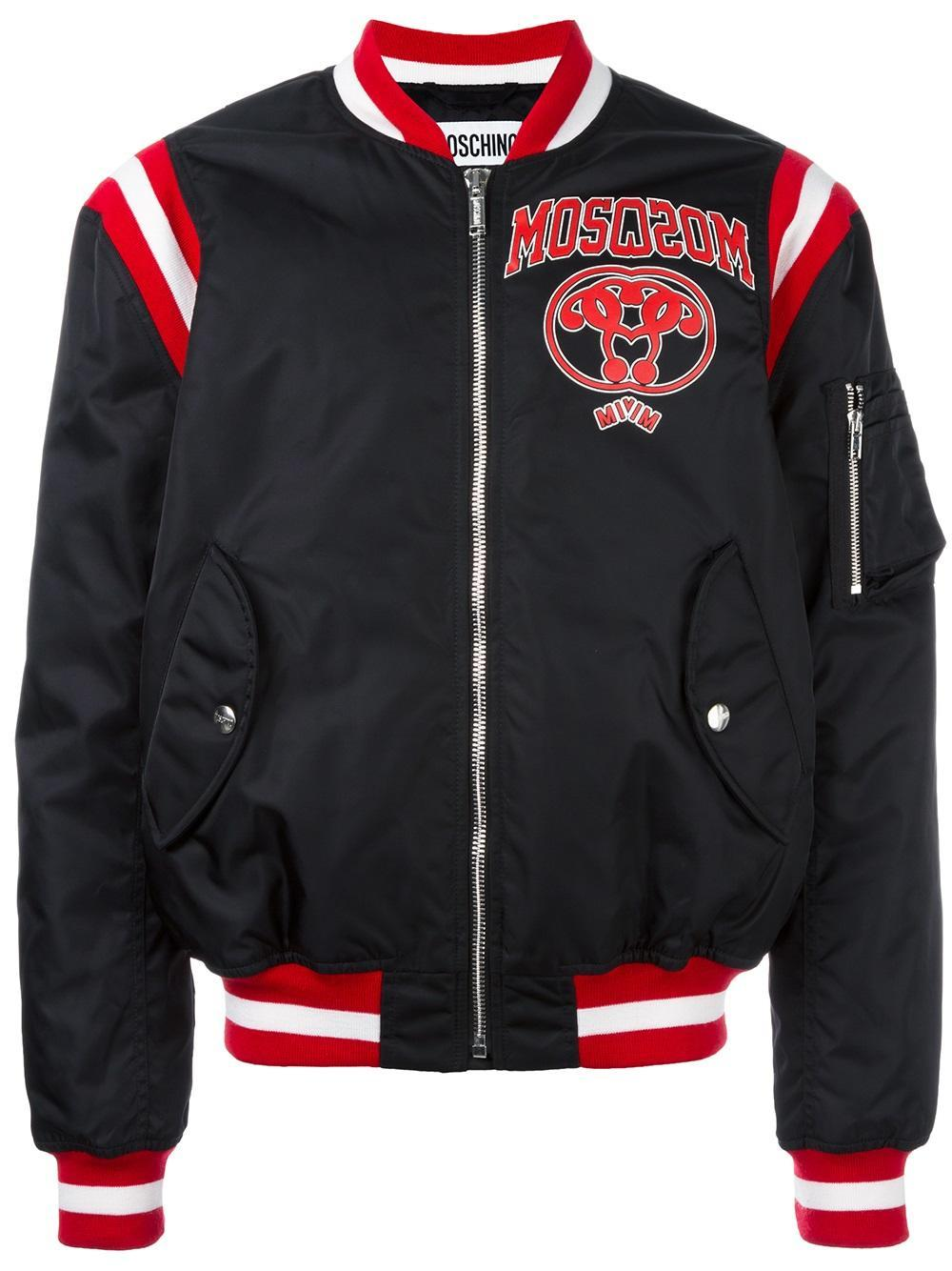 Moschino Varsity Logo Bomber Jacket In Black For Men Lyst