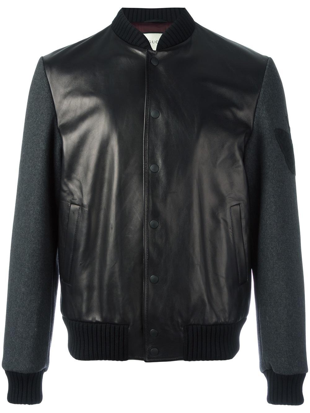 Gucci Butterfly Embroidered Leather Bomber In Black For