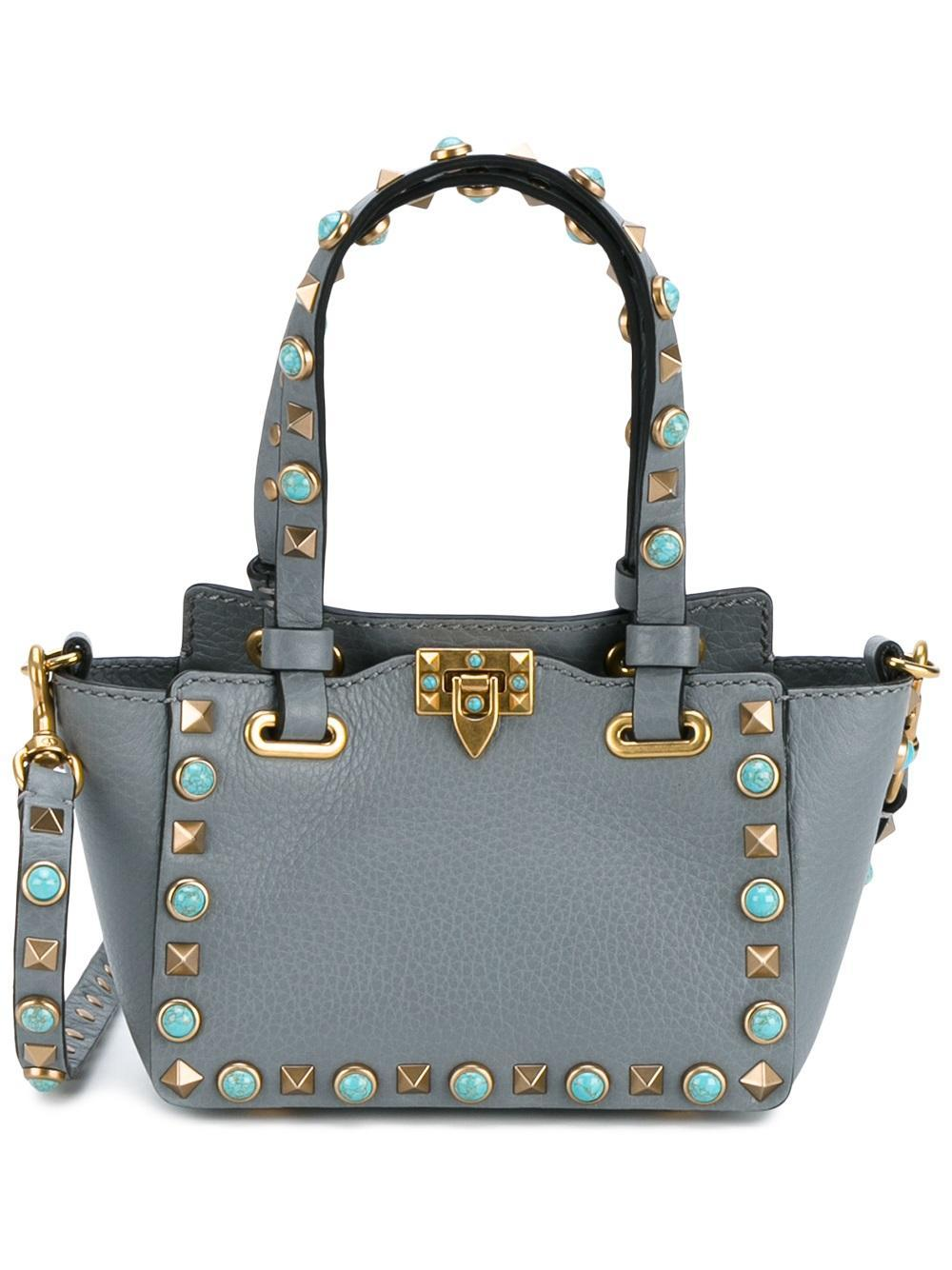 valentino 39 rockstud rolling 39 trapeze tote in gray lyst. Black Bedroom Furniture Sets. Home Design Ideas