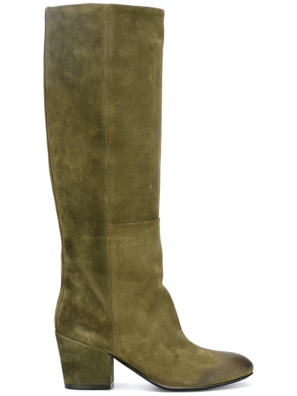 buttero contrast detail knee high boots in green lyst