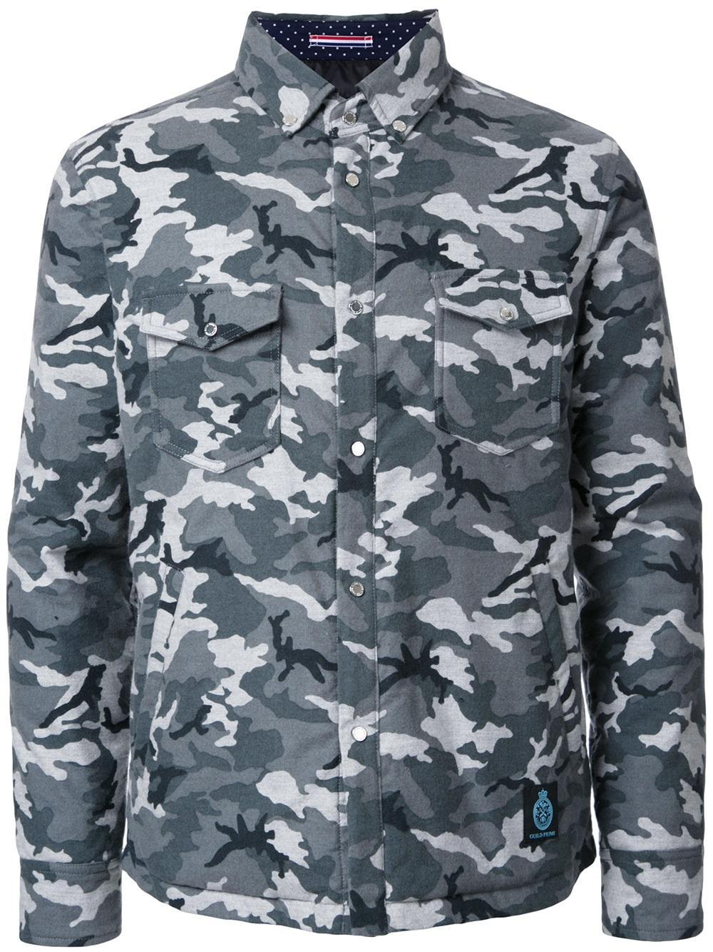 Guild Prime Camouflage Padded Shirt Jacket In Gray For Men