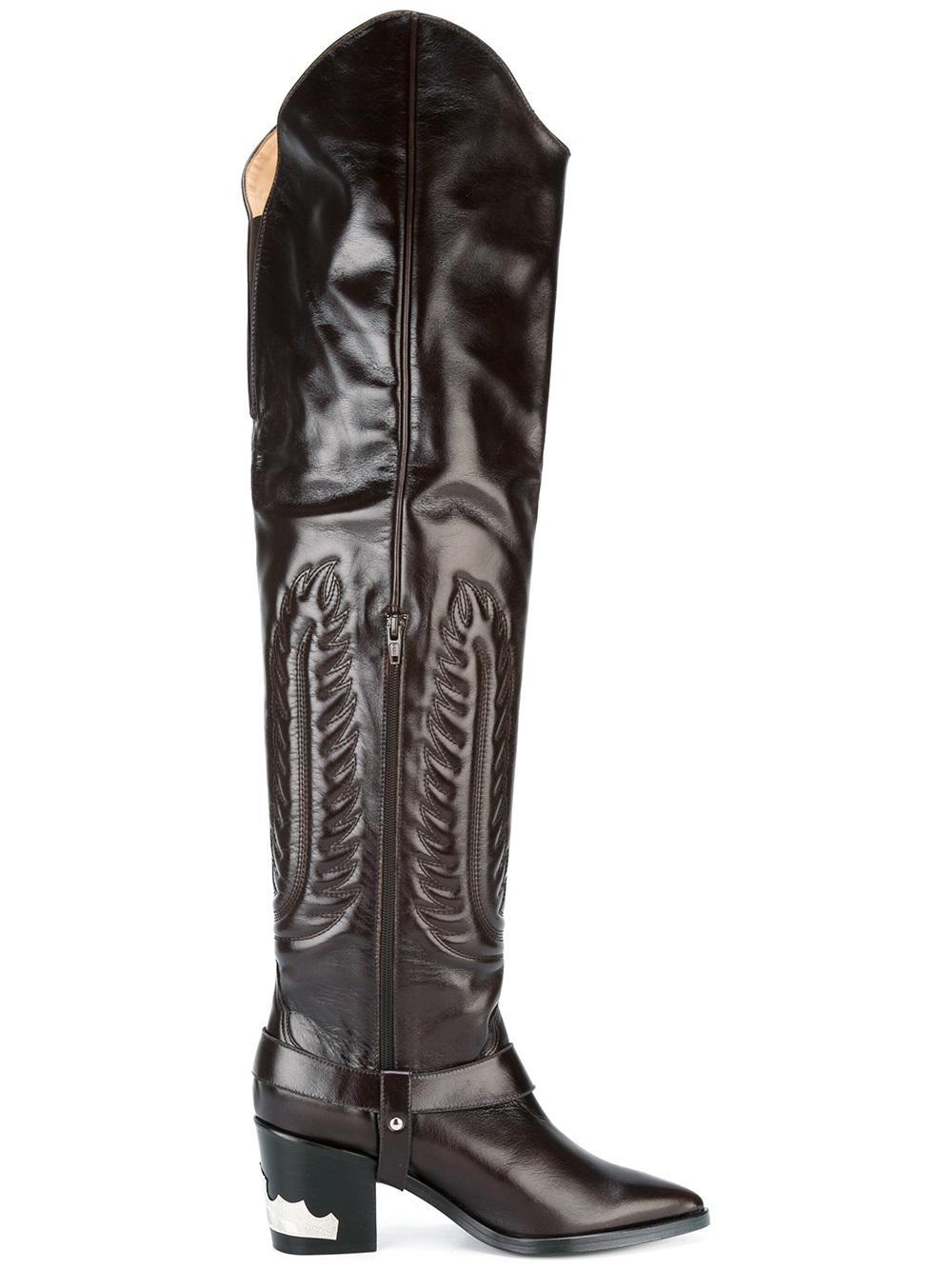 toga pulla embossed thigh high boots in brown lyst