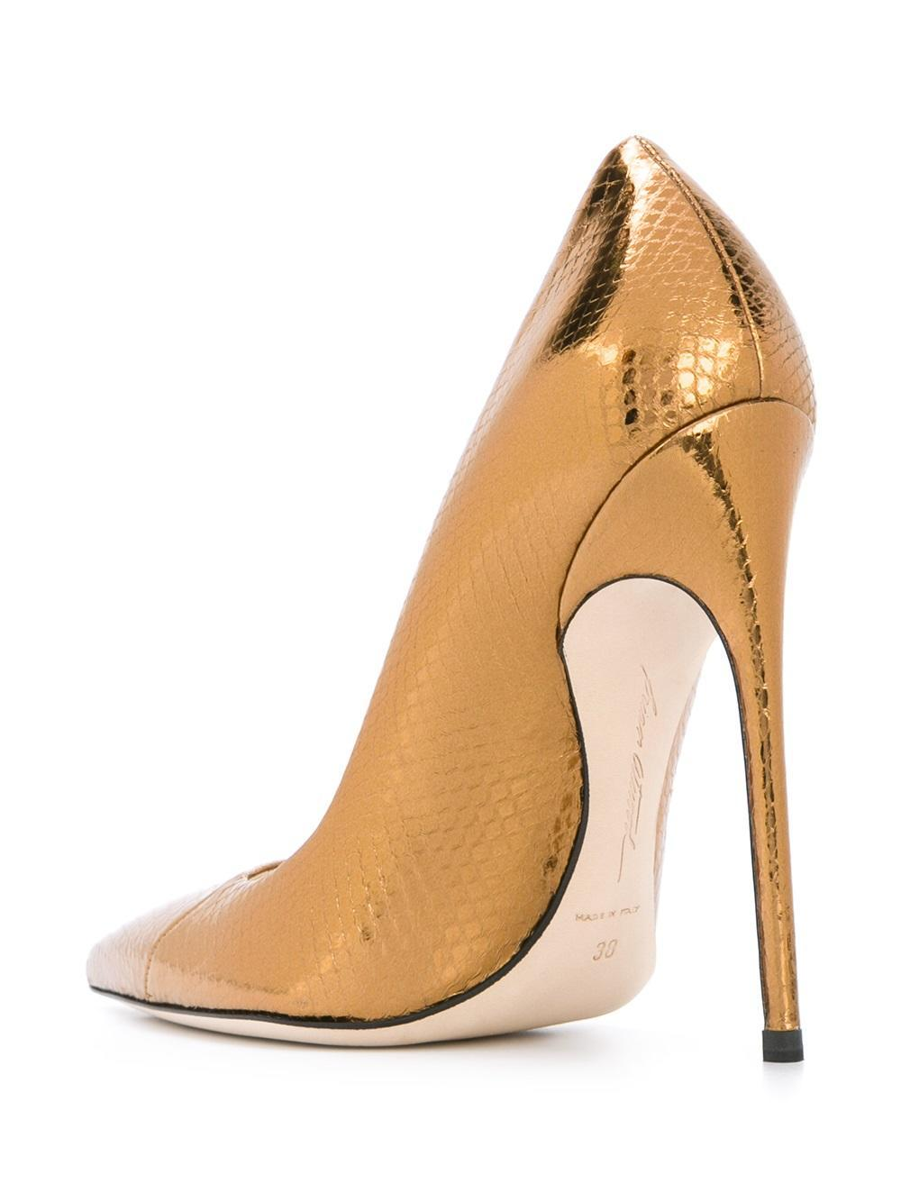 pointy toe pumps brian atwood pointed toe pumps in metallic lyst 30489