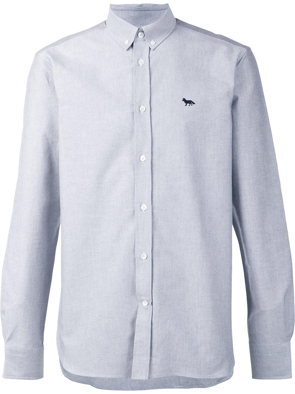 Maison kitsun maison kitsun classic button down shirt in for Grey button down shirt