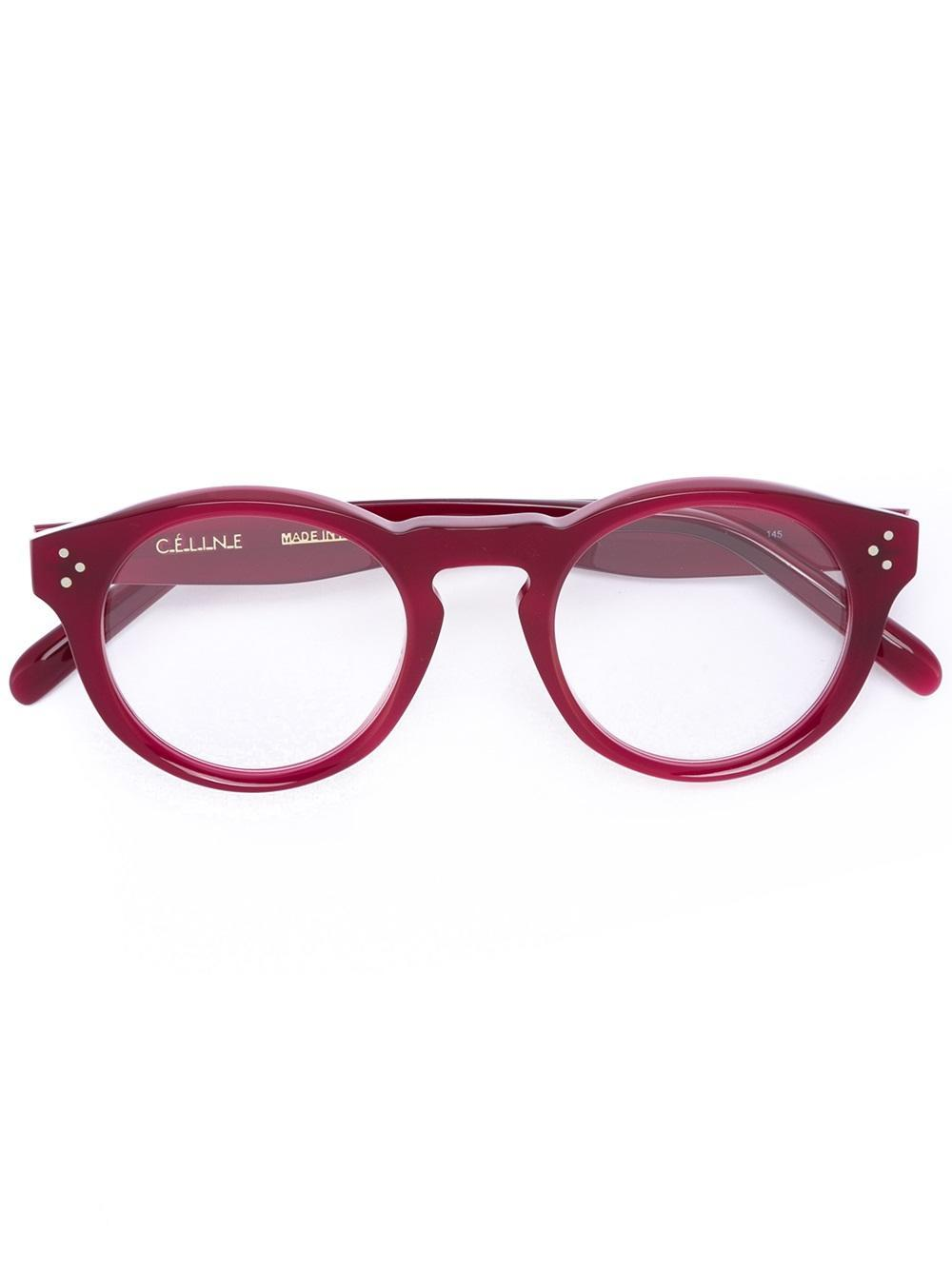 ee09bdab58211 Lyst - Céline Céline Eyewear  bevel Round  Optical Glasses in Red