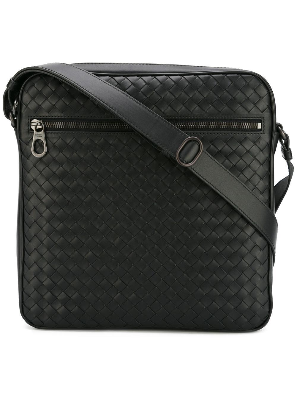 58258d8d1763 Bottega Veneta Leather Woven Messenger Bag