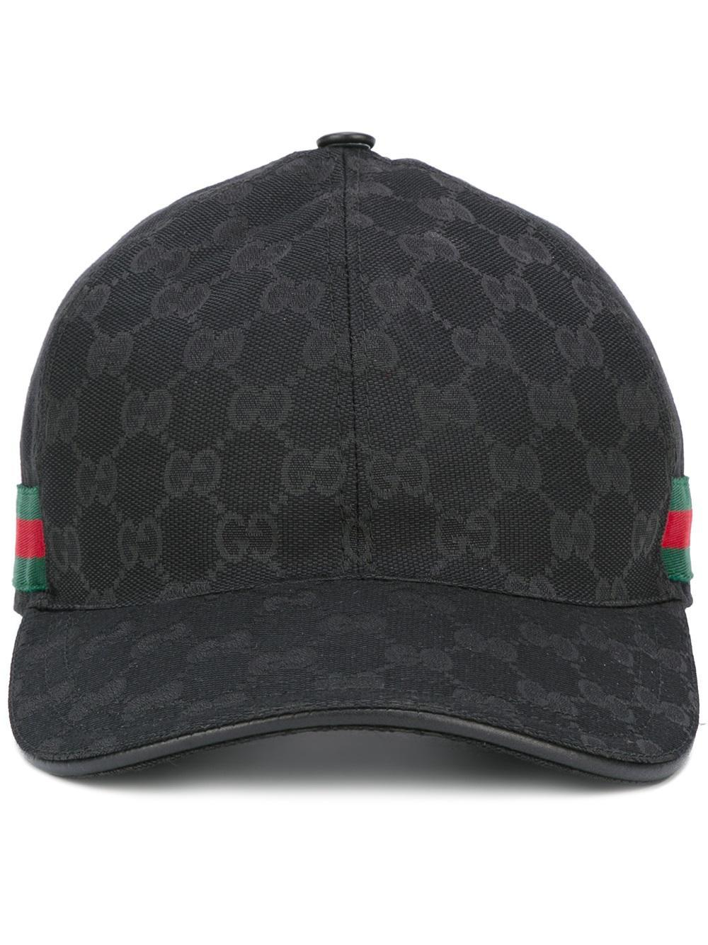 gucci original gg web stripe baseball cap in black for men. Black Bedroom Furniture Sets. Home Design Ideas