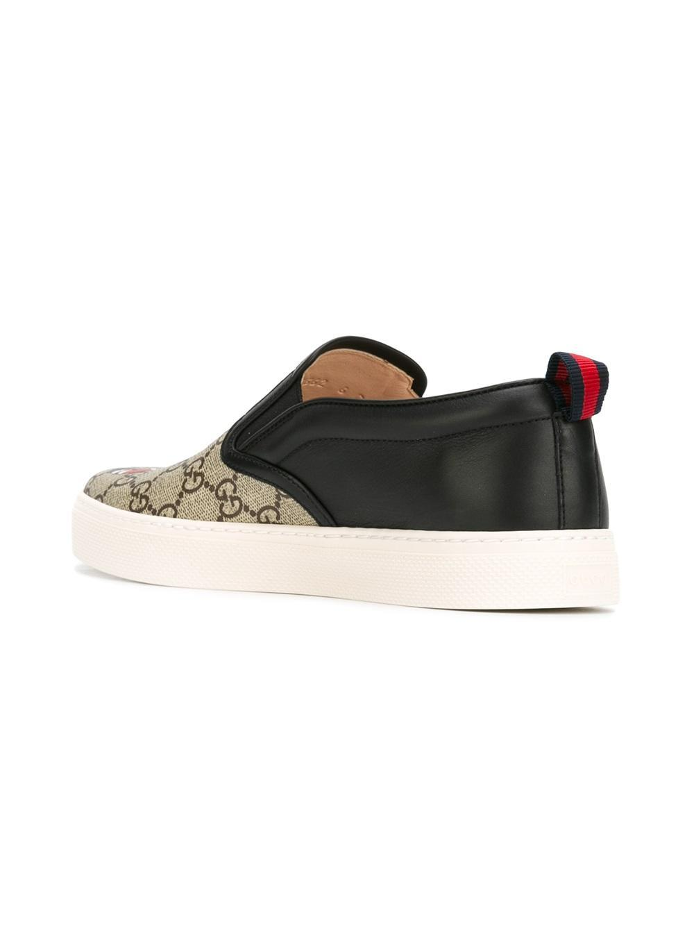 Lyst Gucci Gg Supreme Snake Slip On Sneakers In Black