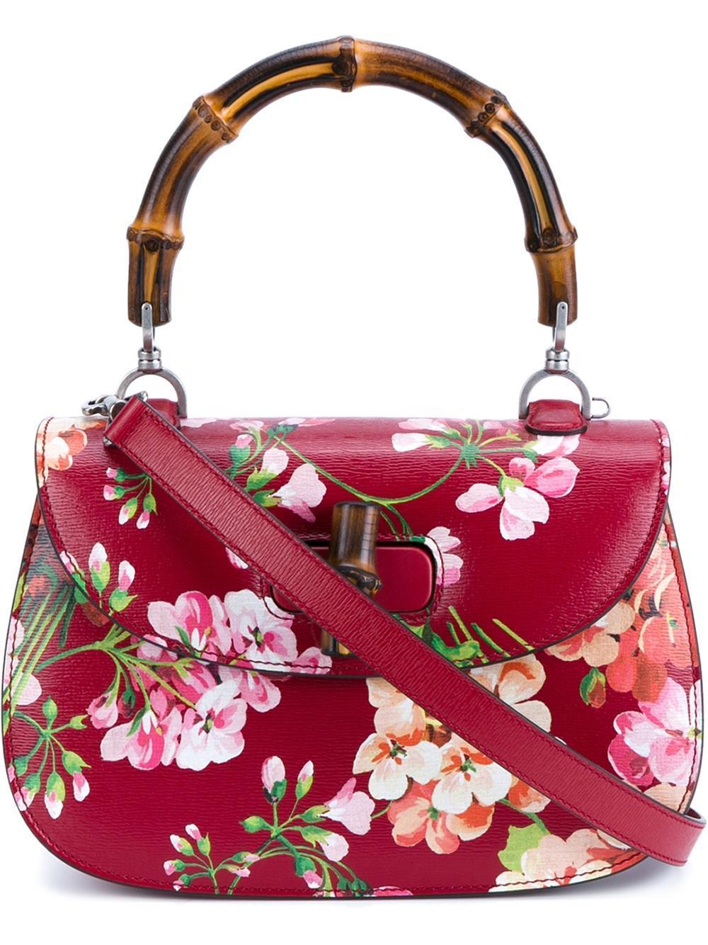 Lyst - Gucci Floral Print Shoulder Bag In Red