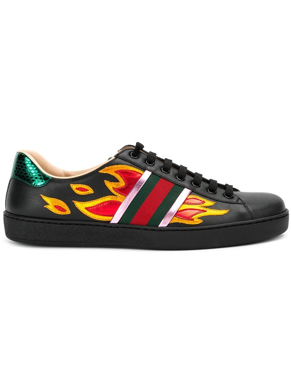 85d2ccaef56 Lyst - Gucci Ace Flame Sneakers in Black for Men