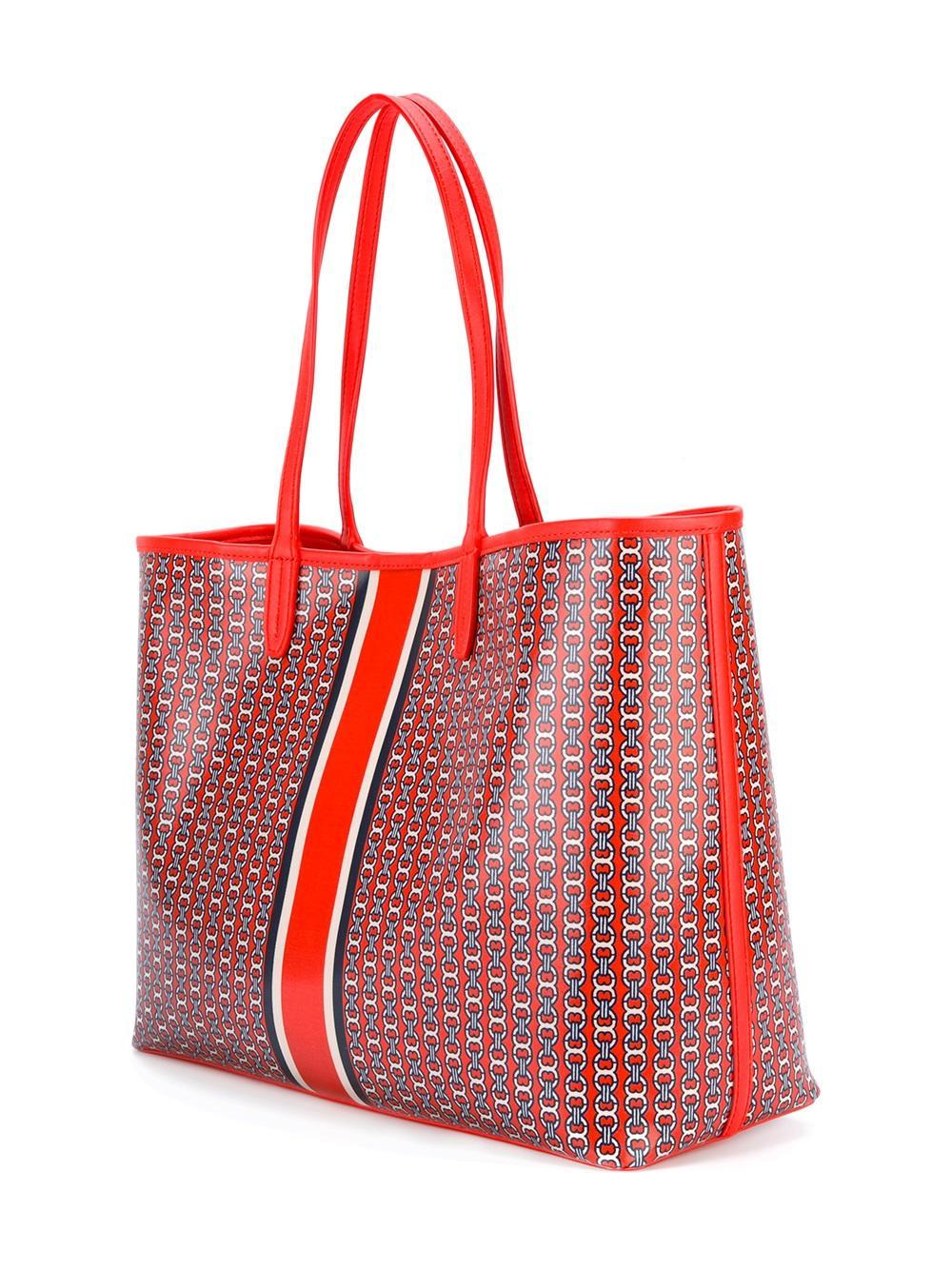 Lyst Tory Burch Large Chain Print Tote Bag In Red