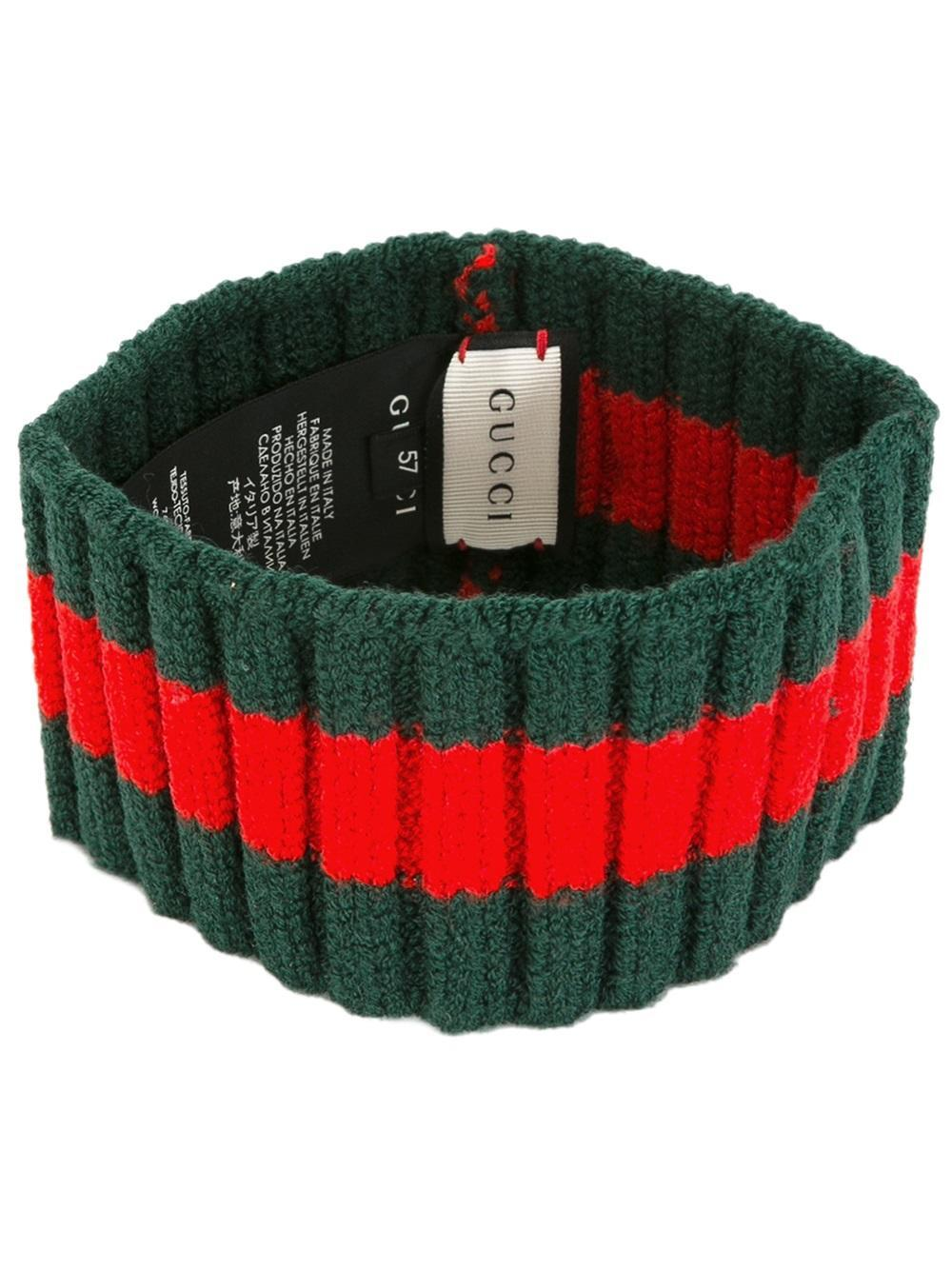 Gucci Stud Detail Ribbed Trim Headband in Green   Lyst