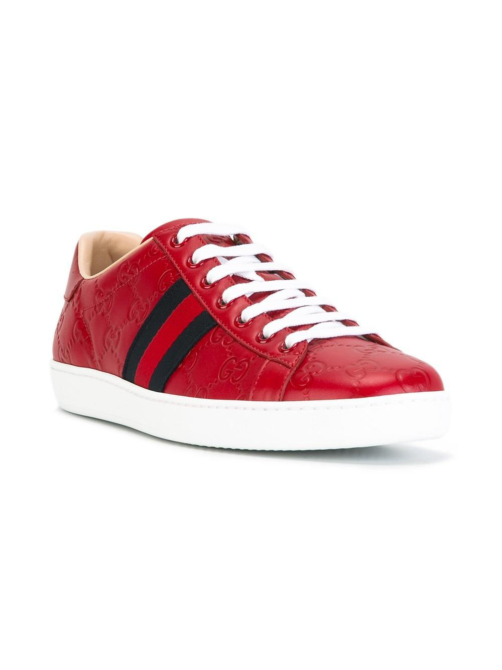 Lyst Gucci Signature Low Top Sneakers In Red