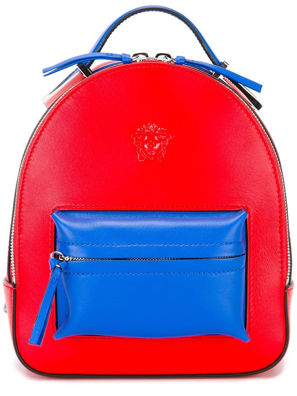 f7d02e24692 Versace Mini Medusa Palazzo Leather Backpack in Red - Lyst