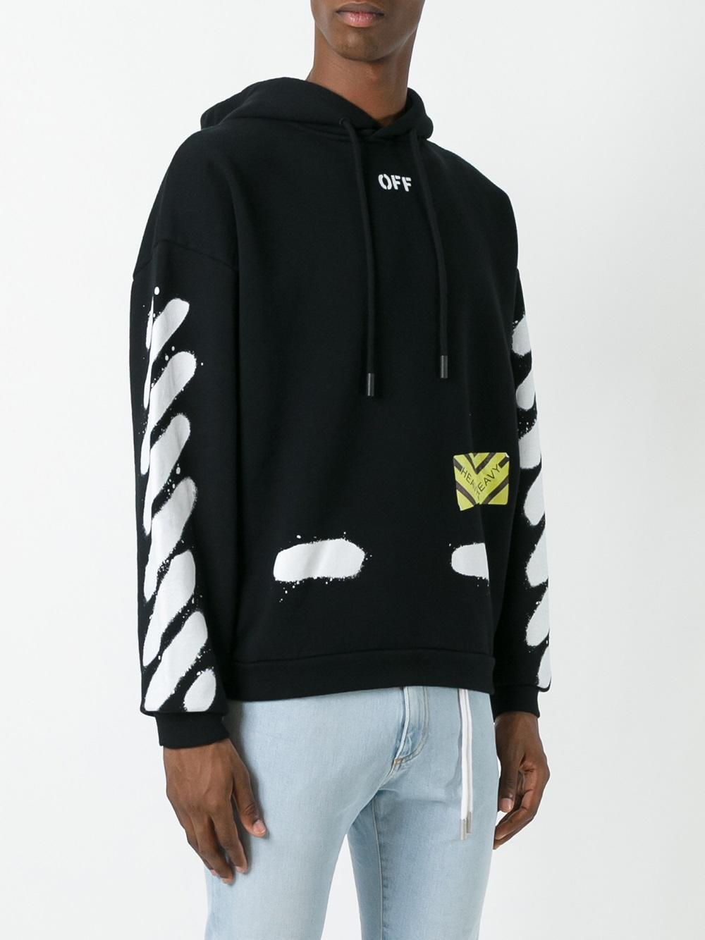 lyst off white c o virgil abloh 39 diag spray 39 hoodie in black for men. Black Bedroom Furniture Sets. Home Design Ideas