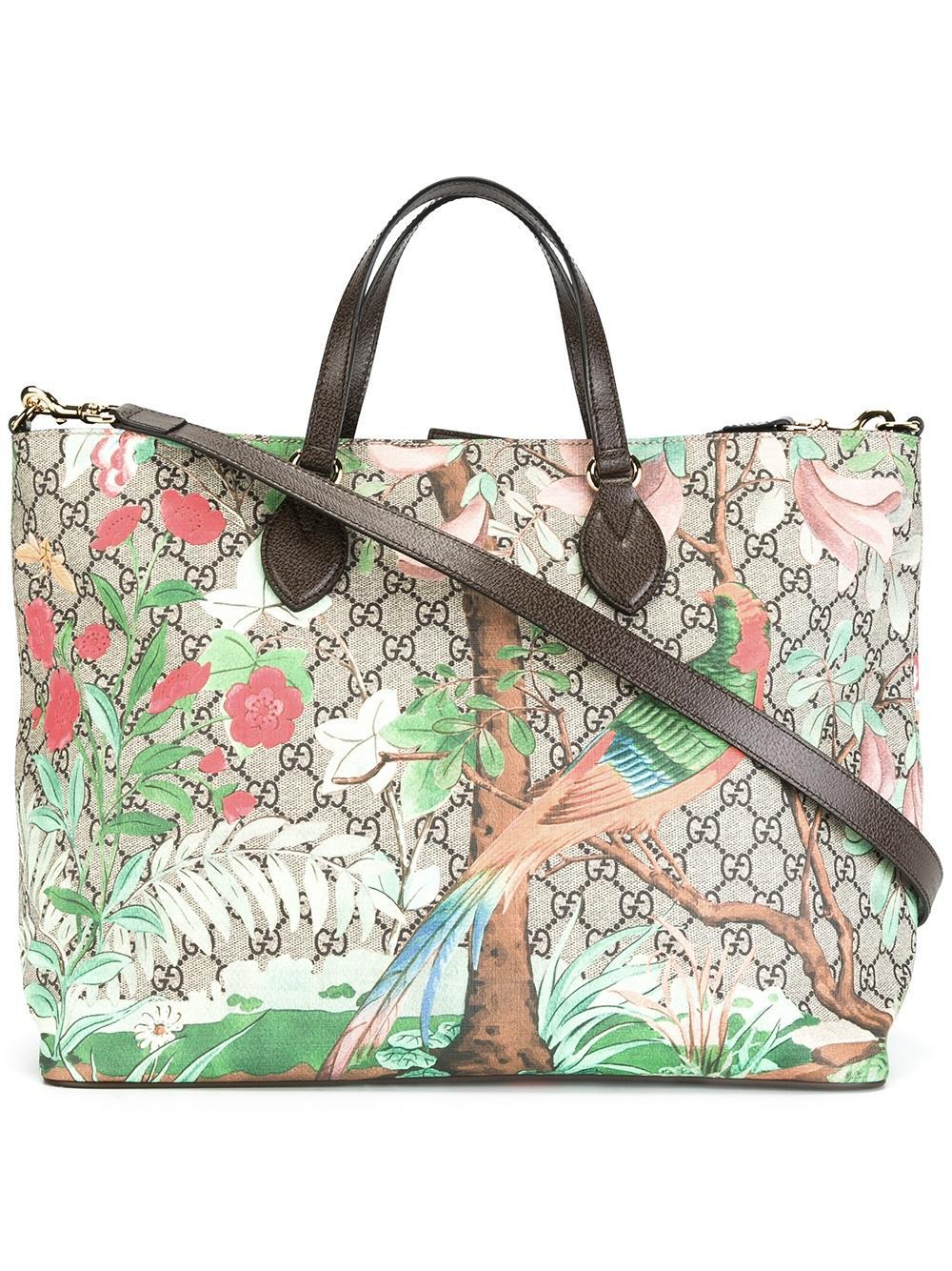 56ce1d5becd Lyst - Gucci Tian Gg Supreme Tote Bag in Brown