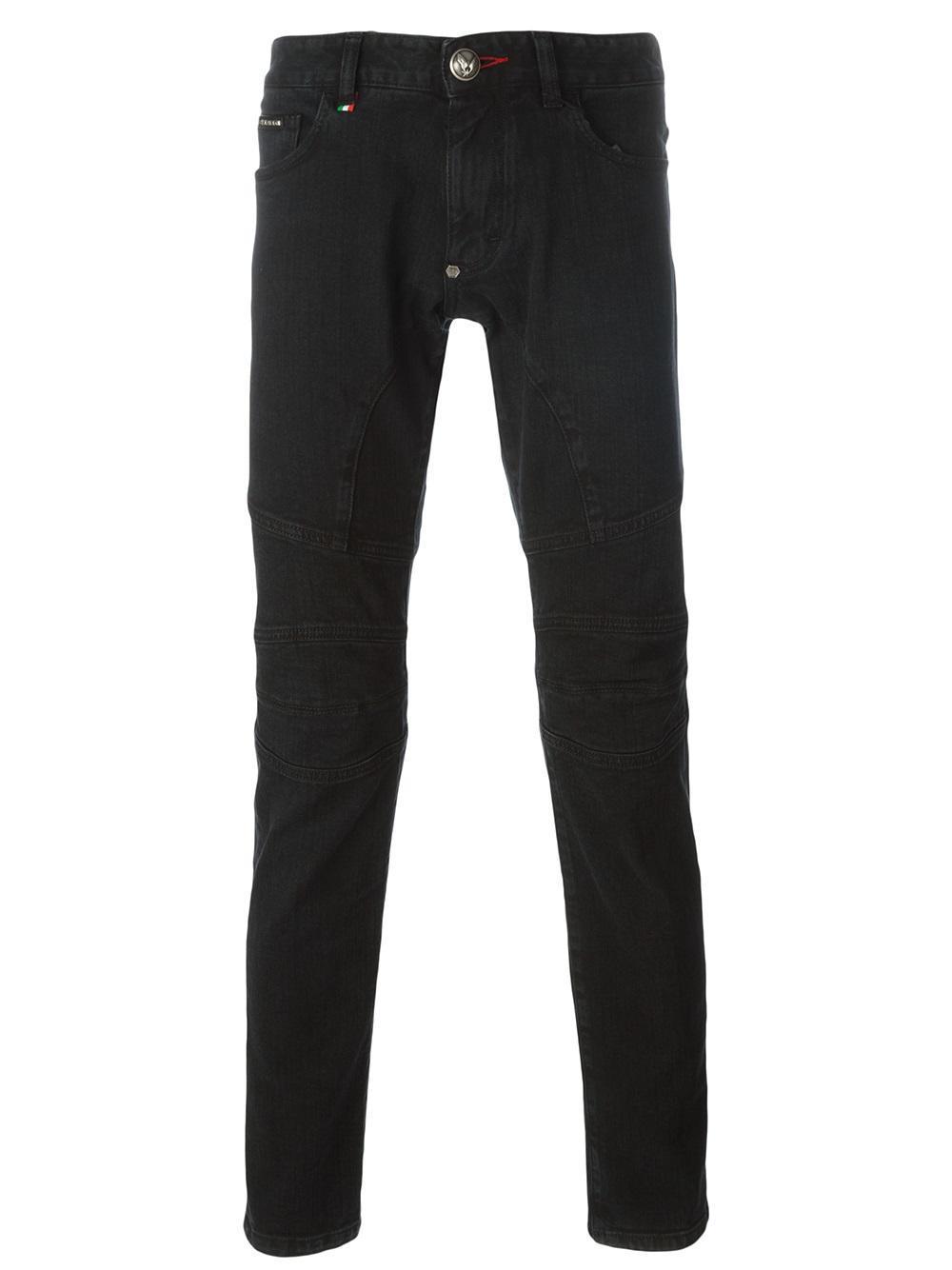 philipp plein biker jeans in black for men lyst. Black Bedroom Furniture Sets. Home Design Ideas