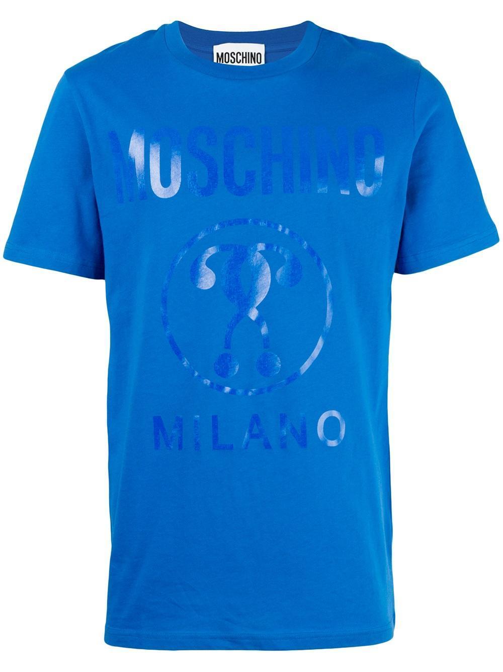 Moschino logo print t shirt in blue for men lyst for Print logo on shirt