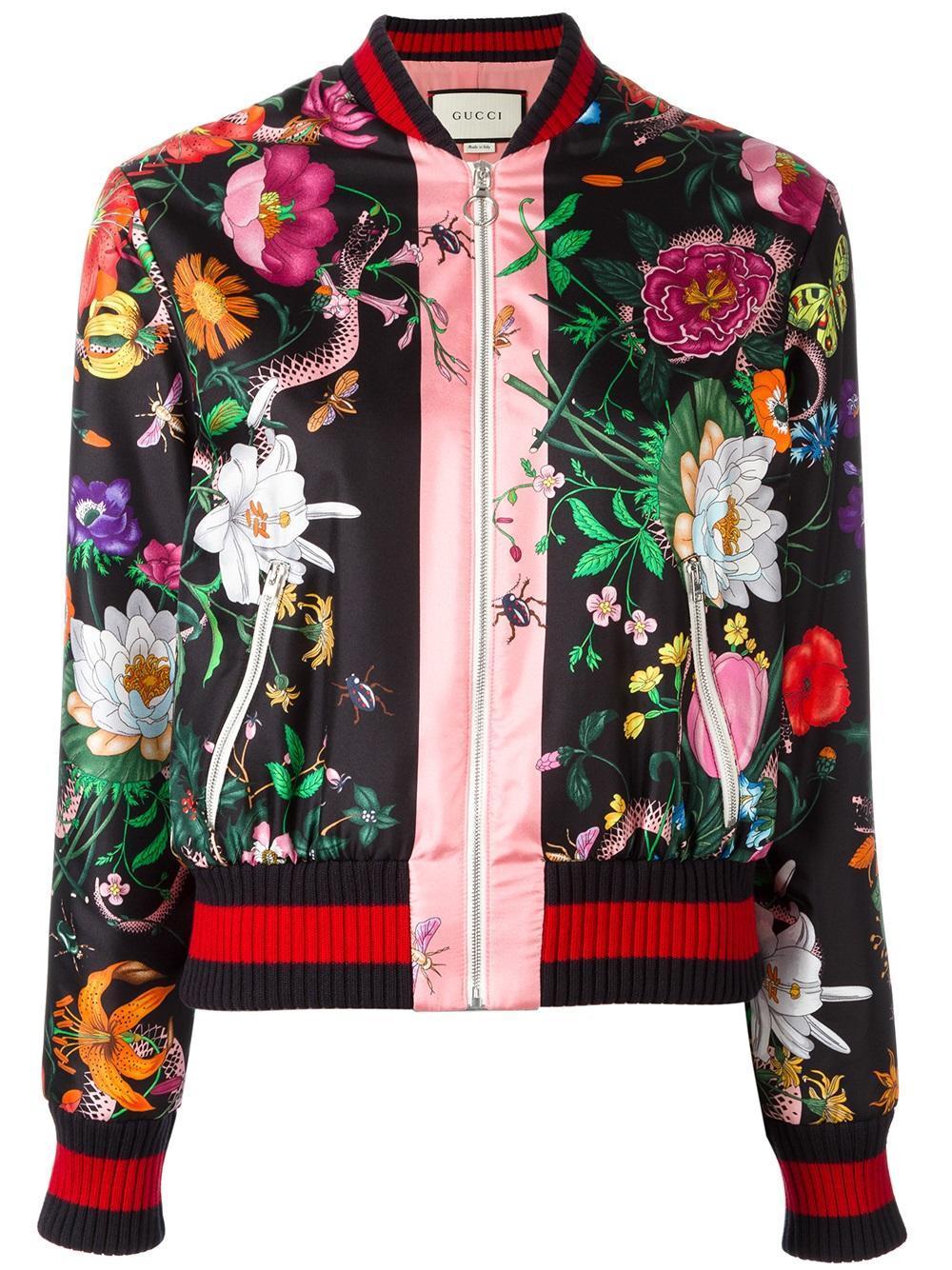 Gucci Floral Print Bomber Jacket Lyst