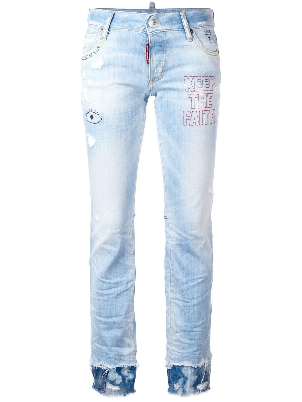 Dsquared Flare Embroidered Jeans In Blue  Lyst